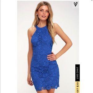 Lulus Love Poem Cobalt Blue Lace Dress